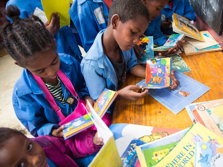 Children reading books in an Ethiopian school