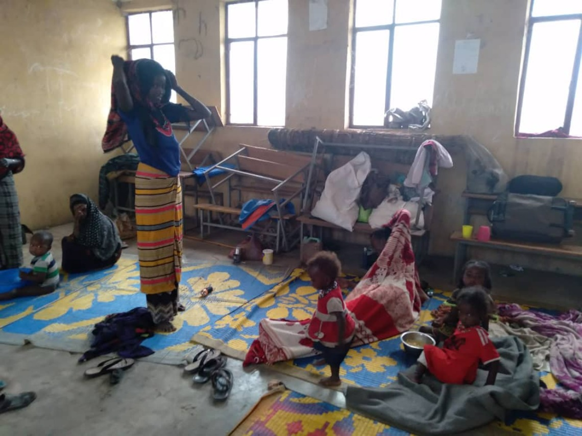 Displaced family trying to live in classroom in Afar