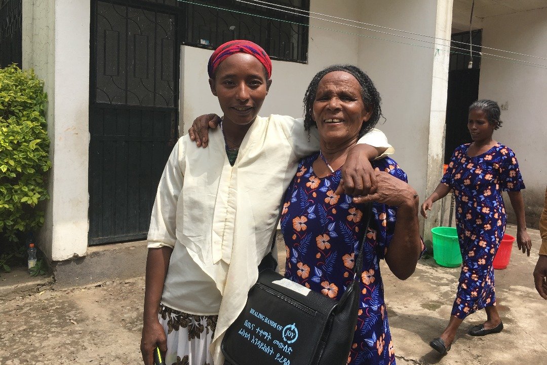 Fistula patient in Ethiopia with Safe Motherhood Ambassador