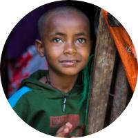 Ethiopian child looking to horizon